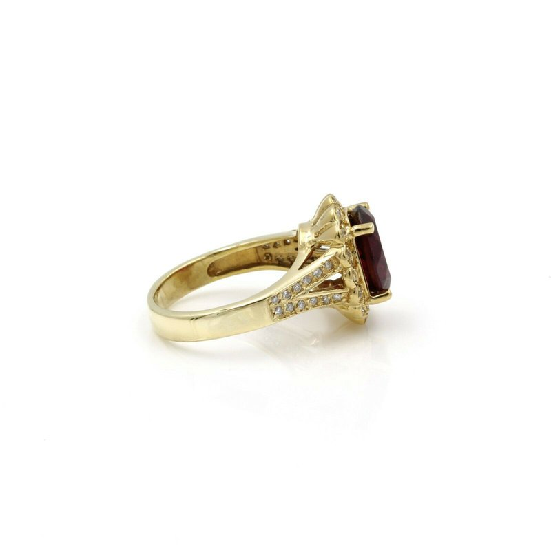 Halo 18K GOLD 3.73 CTW OVAL RUBELITE TOURMALINE & DIAMOND HALO RING SIZE 7.25 #E-305