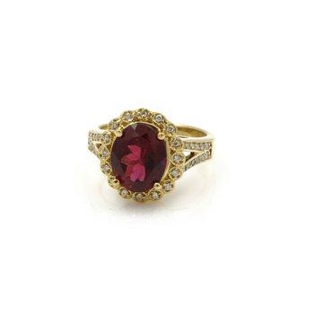 18K GOLD 3.73 CTW OVAL RUBELITE TOURMALINE & DIAMOND HALO RING SIZE 7.25 #E-305