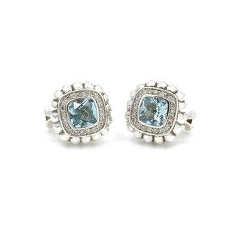 JOHN HARDY STERLING SILVER BATU BEDEG BLUE TOPAZ AND DIAMOND EARRINGS #D11-10