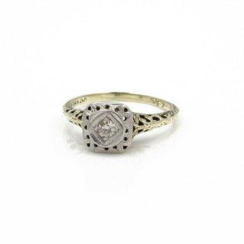 ANTIQUE ART DECO 14K SINGLE CUT  DIAMOND SOLITAIRE RING .10CTW SIZE 6 #JB61-8