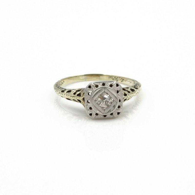 Antique ANTIQUE ART DECO 14K SINGLE CUT  DIAMOND SOLITAIRE RING .10CTW SIZE 6 #JB61-8