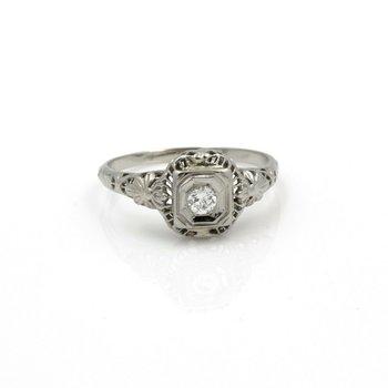 ANTIQUE ART DECO 18K WHITE GOLD OLD EURO CUT DIAMOND SOLITAIRE RING #JB61-10