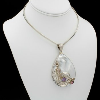 SAJEN SILVER COLLAR & PENDANT MOTHER OF PEARL ROSE QUARTZ AMETHYST TOPAZ 1037B-1