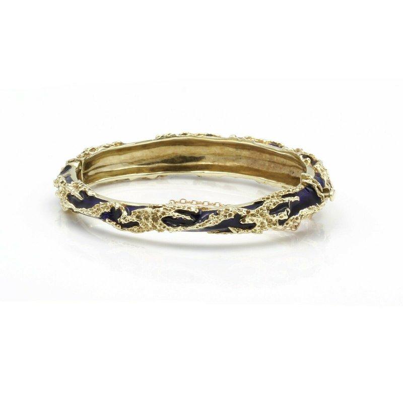 Unbranded 14K SOLID GOLD 6 1/2 INCH BLUE ENAMEL INTRICATE HINGED BANGLE BRACELET #J2650-2
