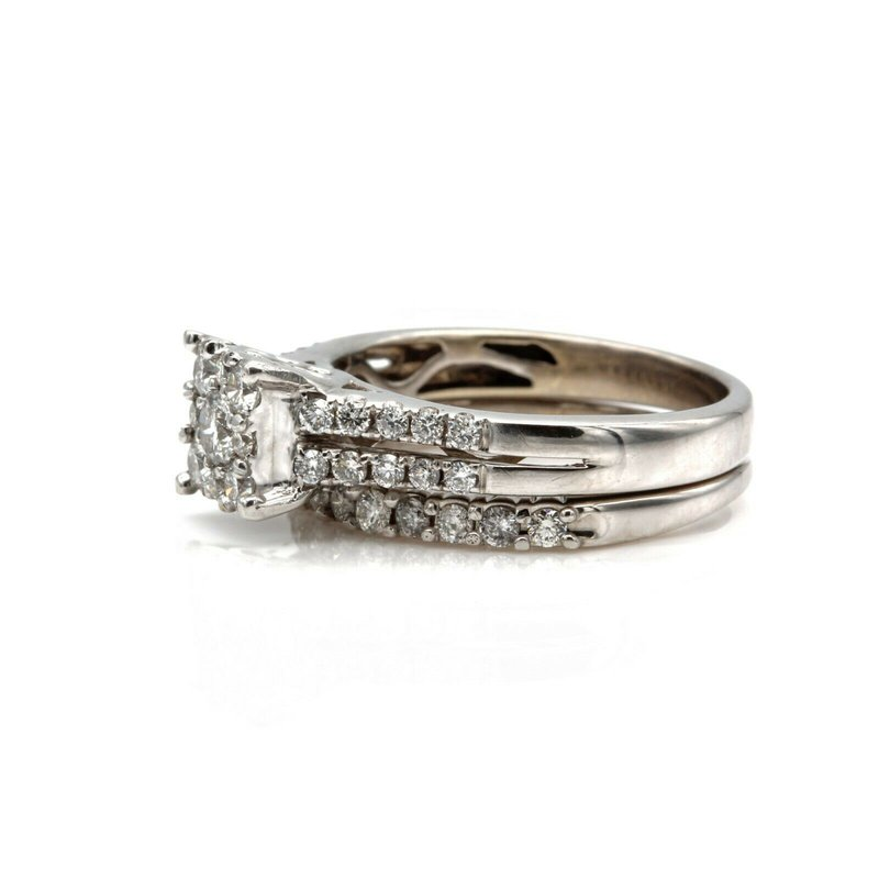 National Rarities 14K WHITE GOLD DIAMOND WEDDING RING SET ROUND FLUSH HALO CTW 0.79 SIZE 4.5