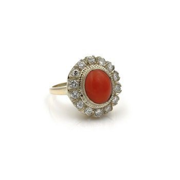 14K GOLD 3.70 CTW OVAL CORAL AND ROUND DIAMOND VINTAGE HALO RING SIZE 5.5 #E-200