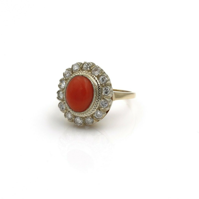 National Rarities 14K GOLD 3.70 CTW OVAL CORAL AND ROUND DIAMOND VINTAGE HALO RING SIZE 5.5 #E-200