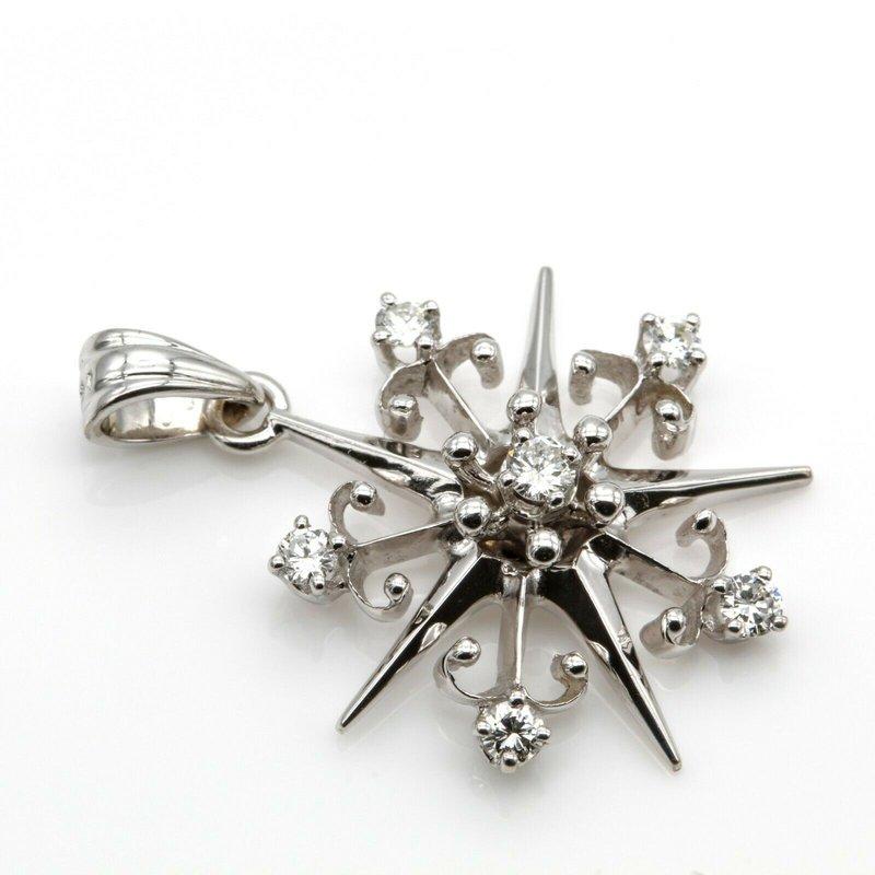National Rarities 14K WHITE GOLD .25 CTW ROUND BRILLIANT CUT DIAMOND PETITE STAR PENDANT 1016B-3