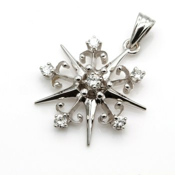 14K WHITE GOLD .25 CTW ROUND BRILLIANT CUT DIAMOND PETITE STAR PENDANT 1016B-3