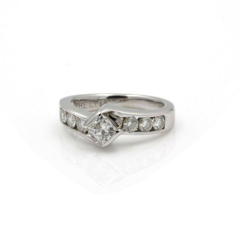 National Rarities 14K WHITE GOLD LEO PRINCESS BYPASS CHANNEL SET DIAMOND RING 0.86CTW #J2375-2