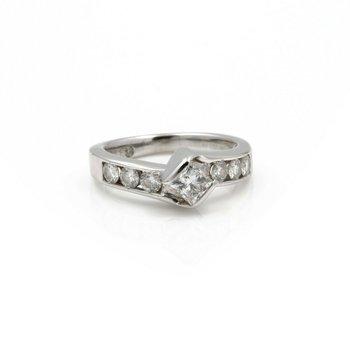 14K WHITE GOLD LEO PRINCESS BYPASS CHANNEL SET DIAMOND RING 0.86CTW #J2375-2