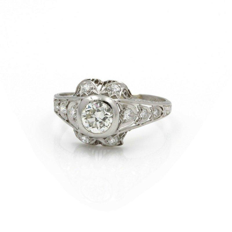 Antique ANTIQUE ART DECO PLATINUM OLD EURO CUT DIAMOND ENGAGEMENT RING SIZE 8.5 #E2808-3