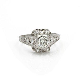 ANTIQUE ART DECO PLATINUM OLD EURO CUT DIAMOND ENGAGEMENT RING SIZE 8.5 #E2808-3