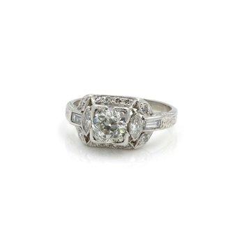 ANTIQUE ART DECO PLATINUM 1.41 CTW EURO DIAMOND ENGAGEMENT RING SIZE 5.25 #E-304
