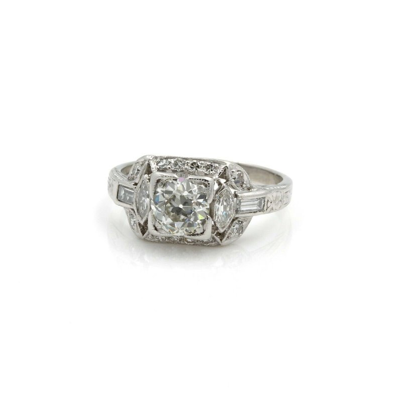 Antique ANTIQUE ART DECO PLATINUM 1.41 CTW EURO DIAMOND ENGAGEMENT RING SIZE 5.25 #E-304
