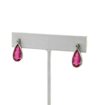 GORGEOUS 14K WHITE GOLD 4.03 CTW PINK TOURMALINE & DIAMOND DANGLE EARRINGS #E260