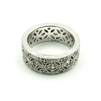 TACORI EPIPHANY DIAMONIQUE HARLEQUIN STERLING SILVER CZ ETERNITY BAND #762B-10