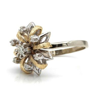 LADIES TWO TONE 14K DIAMOND CLUSTER 7 STONE RING SIZE 7 1/4 NO RESERVE #J2483-2