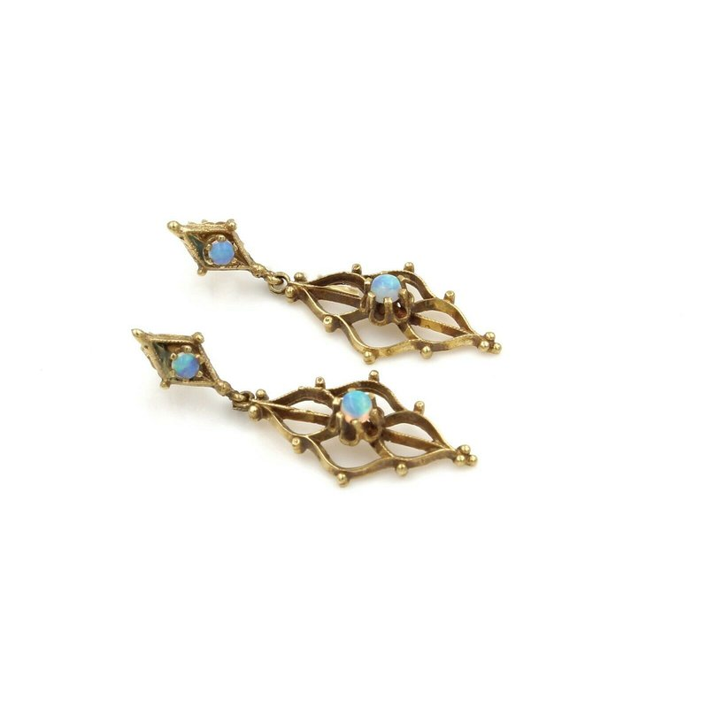 National Rarities ANTIQUE VICTORIAN 14K YELLOW GOLD AND ROUND OPAL DANGLE EARRINGS #E-106