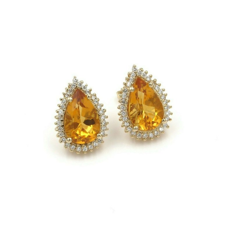 National Rarities BEAUTIFUL 14K SOLID GOLD 9.30 CTW PEAR CITRINE & DIAMOND HALO EARRINGS #986B-7