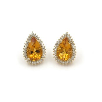 BEAUTIFUL 14K SOLID GOLD 9.30 CTW PEAR CITRINE & DIAMOND HALO EARRINGS #986B-7