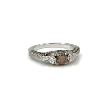14K WHITE GOLD LEVIAN 1.39CTW FANCY BROWN CHOCOLATE DIAMOND RING SIZE 7 #1038B-6