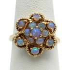 Blu Bell VINTAGE 14K YELLOW GOLD JELLY OPAL ROUND CABOCHON OPEN FLOWER ROPE DESIGN RING