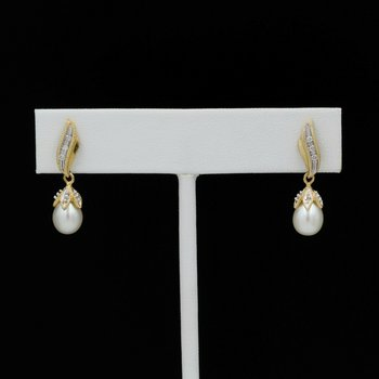 BEAUTIFUL 14K SOLID GOLD PEARL & 0.06 CTW DIAMOND DROP/DANGLE EARRINGS 1051-10