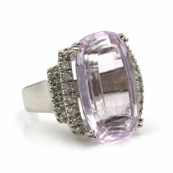 14K WHITE GOLD 18.42 CTW CUSHION PINK KUNZITE ROUND DIAMOND STATEMENT RING #E139