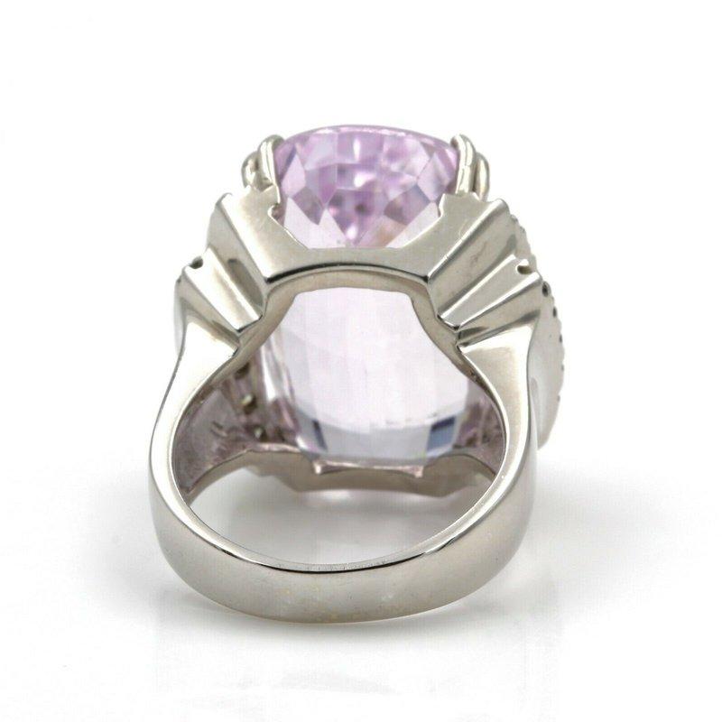 National Rarities 14K WHITE GOLD 18.42 CTW CUSHION PINK KUNZITE ROUND DIAMOND STATEMENT RING #E139