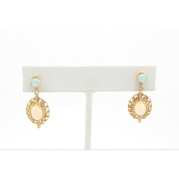14K YELLOW GOLD OVAL AND ROUND CABOCHON OPAL DROP/DANGLE EARRINGS #JB22-1