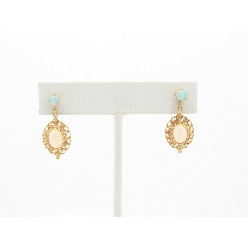 Unbranded 14K YELLOW GOLD OVAL AND ROUND CABOCHON OPAL DROP/DANGLE EARRINGS #JB22-1