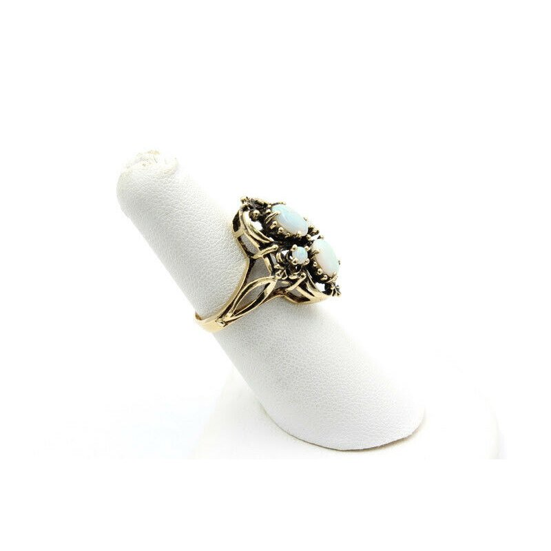 National Rarities VICTORIAN REVIVAL 14K SOLID GOLD OVAL & ROUND CABOCHON CRYSTAL OPAL RING J4-1