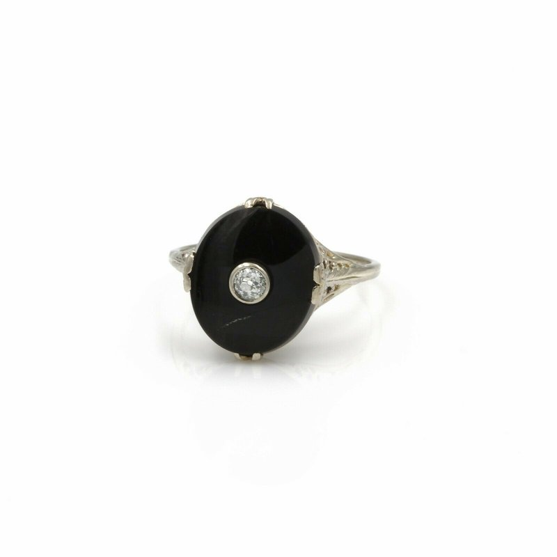 National Rarities 14K WHITE GOLD 0.15 CT DIAMOND & BLACK ONYX FILIGREE RING SIZE 7.25 #1051B-8