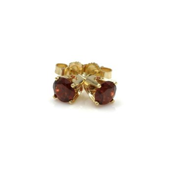 14K YELLOW GOLD 1.20 CTW ROUND GARNET STUD EARRINGS RICH RED #982B-5