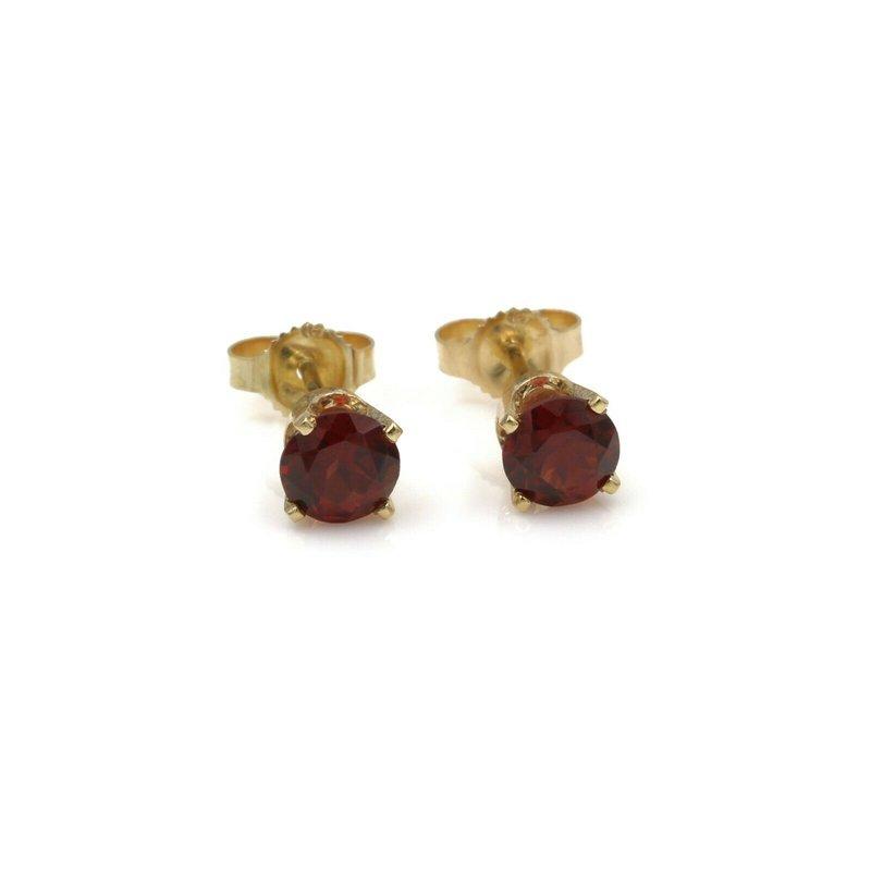 National Rarities 14K YELLOW GOLD 1.20 CTW ROUND GARNET STUD EARRINGS RICH RED #982B-5