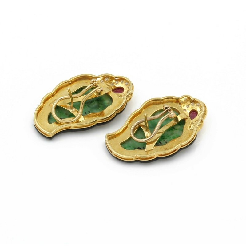 Estate 18K YELLOW GOLD CARVED MOSS IN SNOW JADEITE ONYX RUBY DIAMOND EARRINGS #E832-2