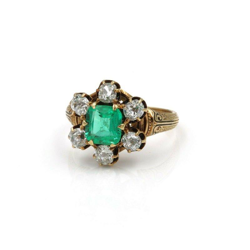 Antique ANTIQUE 18K YELLOW GOLD 3.46 CTW OLD MINE DIAMOND EMERALD CUT EMERALD RING #E278