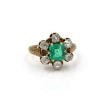 ANTIQUE 18K YELLOW GOLD 3.46 CTW OLD MINE DIAMOND EMERALD CUT EMERALD RING #E278
