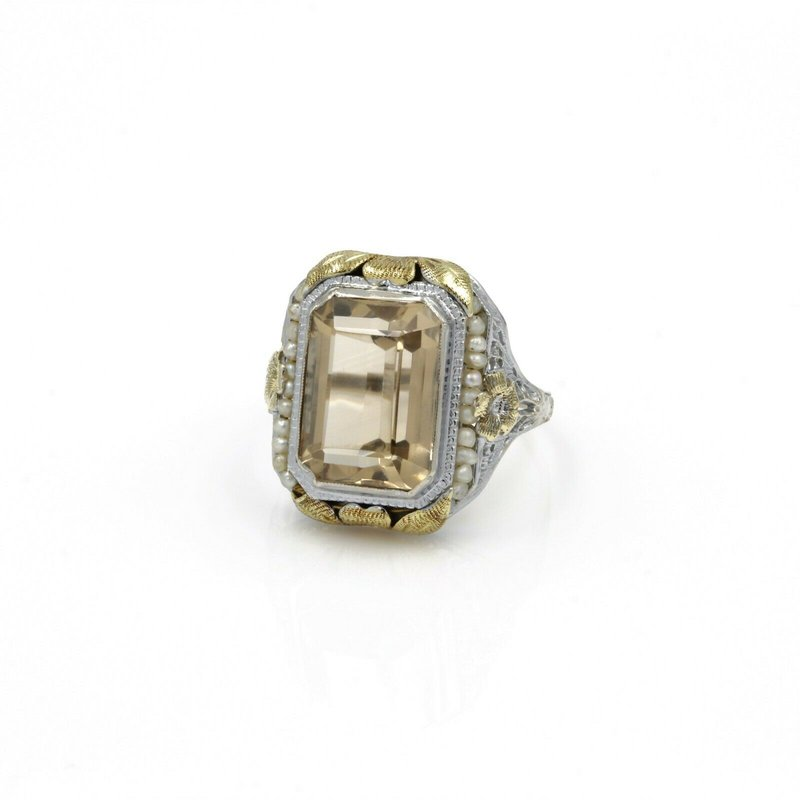 Filigree 14K TWO TONE GOLD VINTAGE 6.05 CTW CITRINE & PEARL FILIGREE RING SIZE 9 #1005B-4