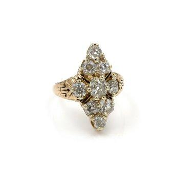 14K YELLOW GOLD 2.06 CTW OLD MINE DIAMOND ENAMEL CLUSTER SETTING RING E-287