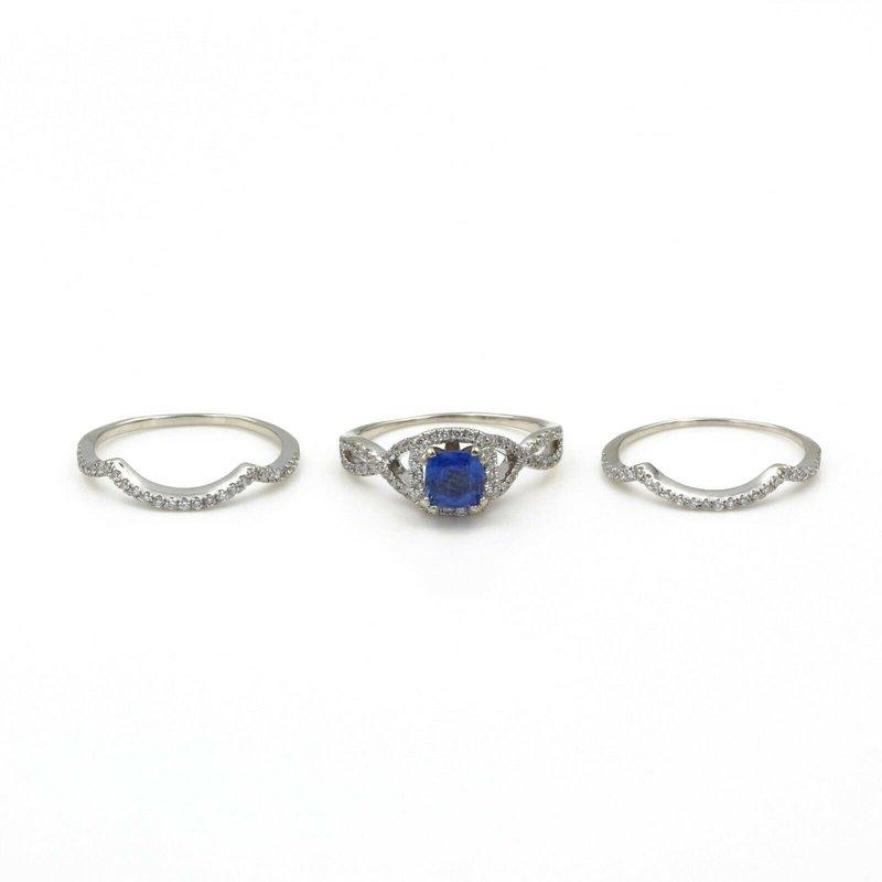 National Rarities 14K WHITE GOLD 2.25 CTW CUSHION SAPPHIRE & DIAMOND THREE BAND RING SZ. 7.0 E-162