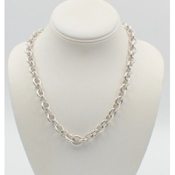 "JUDITH RIPKA STERLING SILVER TEXTURED CHAIN LINK 19"" NECKLACE #760B-8"