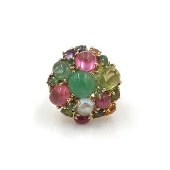 14K VINTAGE FRUIT SALAD RING EMERALD PINK GREEN TOURMALINE PERIDOT AQUA  #987-3