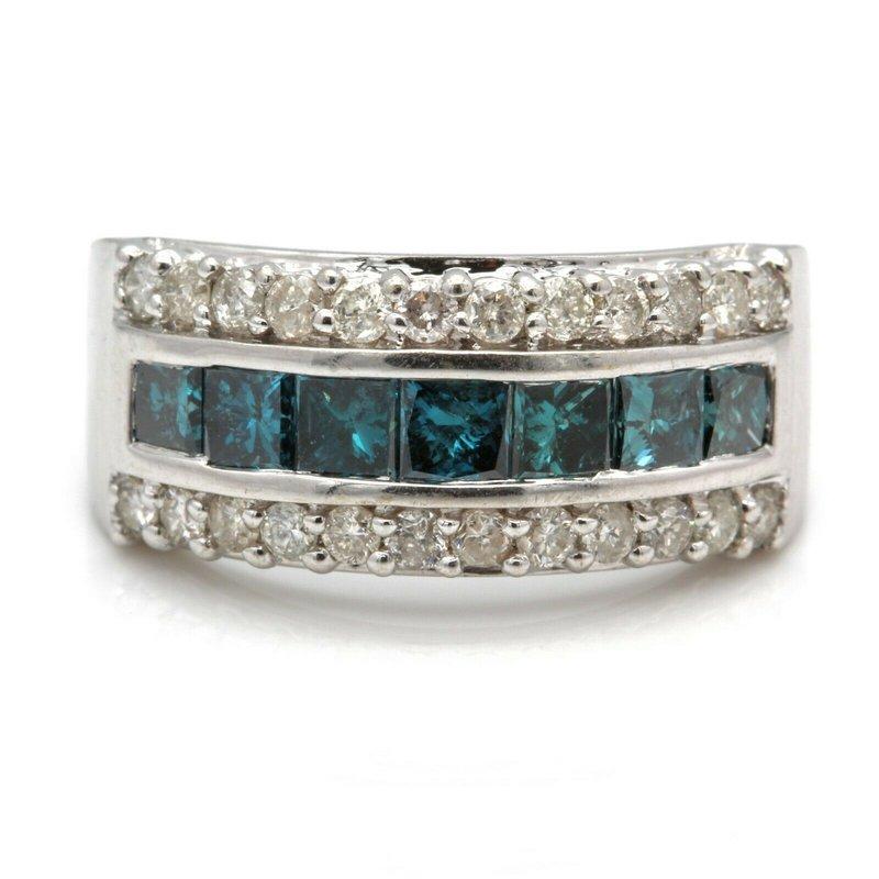 Blue Diamond 14K WHITE GOLD PRINCESS CUT BLUE DIAMOND CHANNEL RING SIZE 7.25 1.91CTW #JB41-3