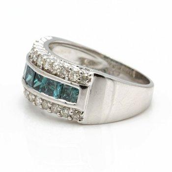 14K WHITE GOLD PRINCESS CUT BLUE DIAMOND CHANNEL RING SIZE 7.25 1.91CTW #JB41-3