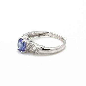 18K WHITE GOLD ROUND TANZANITE DIAMOND ACCENTED COCKTAIL RING SIZE 7 #JB74-9