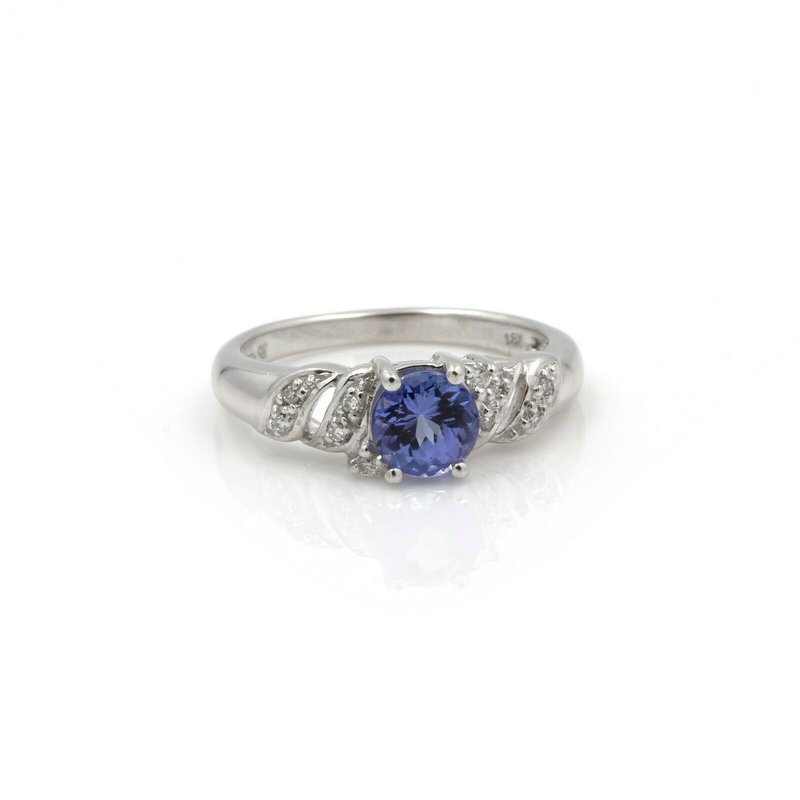 Unbranded 18K WHITE GOLD ROUND TANZANITE DIAMOND ACCENTED COCKTAIL RING SIZE 7 #JB74-9
