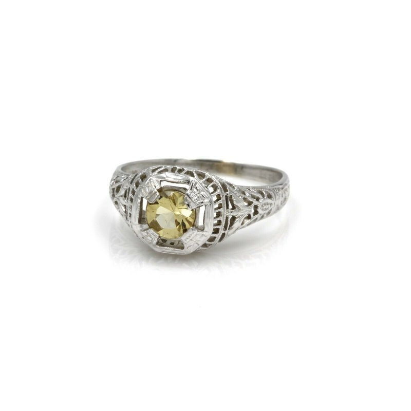 Filigree 18K WHITE GOLD ROUND CUT YELLOW TOPAZ VINTAGE FILIGREE RING SIZE 7 #1036B-6