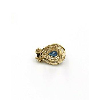 14K YELLOW GOLD 2.0 CTW PEAR SAPPHIRE ROUND DIAMOND OMEGA BACK EARRINGS #JB31-8